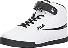 Jump higher and smile brighter with the Fila® Vulc 13 Mid Plus. Synthetic leather upper. Brand hits at the side, tongue, and heel. Lace-up closure with a hook-and-loop ankle strap. Breathable textile lining. Padded tongue, collar, and footbed...