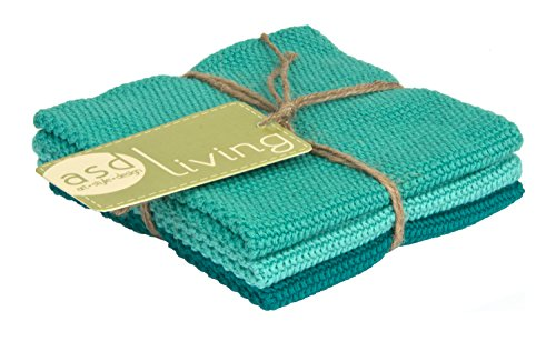 ASD Living 4C-405 Absorbent Cotton (Set of 3) Set of Dishcloths, Marine Green, 10 x 10