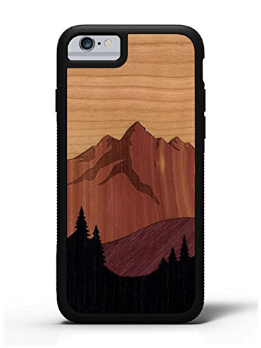 CARVED iPhone 6/6s Mount Bierstadt Inlay Wood Traveler Case by, Unique Real Wooden Phone Cover (Rubber Bumper, Fits Apple iPhone 6/6s)