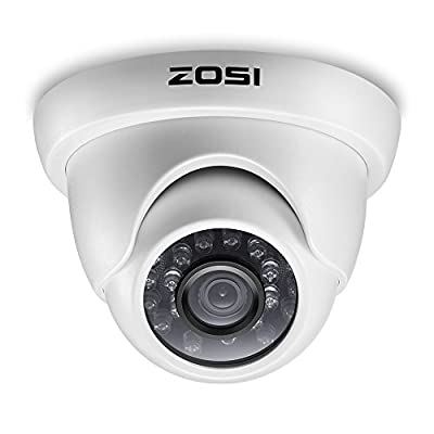 ZOSI 1000TVL CCTV Camera 24 IR LEDs Indoor outdoor Day Night Vision 65ft Security Dome Color Camera For DVR Surveillance System (white) by Zosi