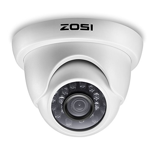 ZOSI 800TVL CCTV Camera 24 IR LEDs Indoor outdoor Day Night Vision 65ft Security Dome Color Camera For DVR Surveillance System (white) by ZOSI
