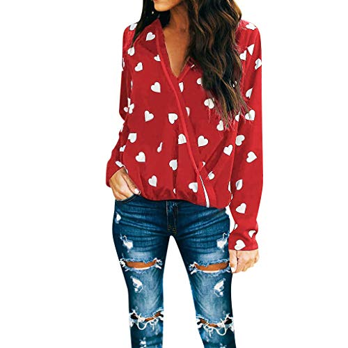 Women's Tops Long Sleeve Heart Print Deep V-Neck Wrap Front Blouse Loose Pullover Valentine's Day Shirts Dress Red