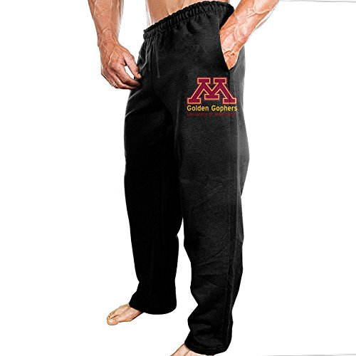 TONGY Men University Of Minnesota Golden Gophers Gophs Comfortable Hip-Hop Classic Sweatpants Leisure Wear Size L Black (Gopher Hockey Hat)