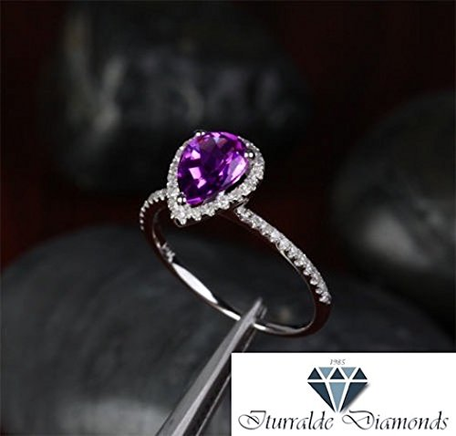 - 14k Pear Shape Amethyst Halo Diamond Pave Solitaire Engagement Ring