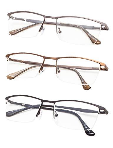 - Half-Rim Reading Glasses 3-Pack with Spring Hinges+2.5