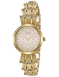 Titan Women's 'Raga Aurora' Quartz Stainless Steel and Brass Casual Watch, Color:Gold-Toned (Model: 95044YM01)