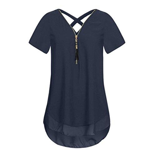 HOT! Women T Shirts, vermers Loose Chiffon Short Sleeve V-Neck Zipper Hem Scoop Tops