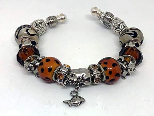 Pandora Style, Cat Lovers Cuff Charm Bracelet, Festival Gift, Cat Lovers Gift, Amber & Brown,Themed Bracelet, Cute Costume Jewelry for Women or Girls,