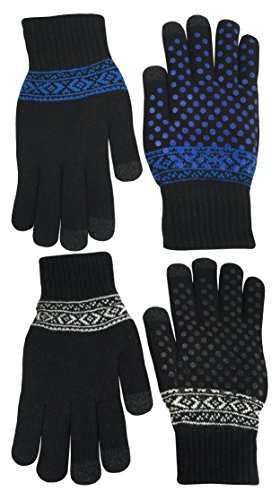 NIce Caps Kids Magic Stretch Warm Plush Lined Knit Touchscreen Gloves - 2 Pair Pack