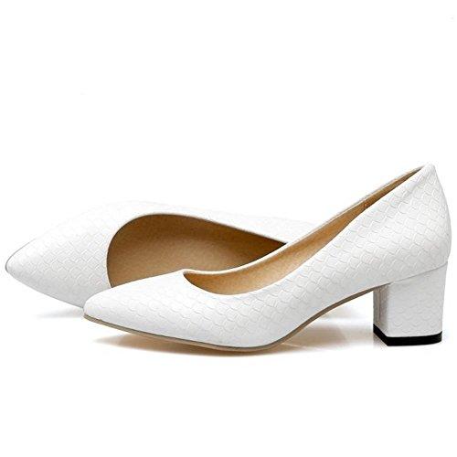 FANIMILA Mujer Moda Sin Cordones Tacon Ancho Bombas Zapato Oficina Vestir Zapatos blanco