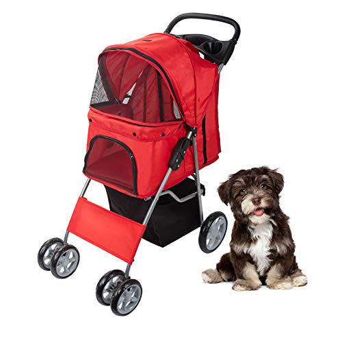 Display4top Pet Travel Stroller for Cat, Dog,Jogger Buggy Travel Folding Carrier with 4 Wheels (Red)