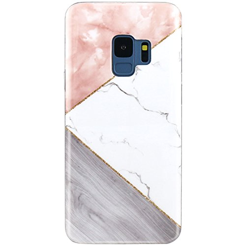 - Galaxy S9 Case, JAHOLAN Pink Geometric White Marble Design Slim Flexible Clear Bumper TPU Soft Rubber Silicone Cover Phone Case for Samsung Galaxy S9