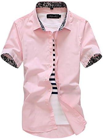 LLS-Camisa casual/con botones Manga corta / para hombre/Slim Fit de Manga Corta Camiseta/Hombre Imprimir Blusa /Manga Corta Verano Para HombreImpresión de camisas, rosa, 5XL: Amazon.es: Deportes y aire libre