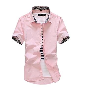 LLS-Camisa casual/con botones Manga corta / para hombre/Slim Fit de