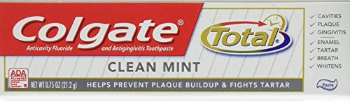 Colgate Total Toothpaste, Anticavity Fluoride and Antigingivitis, Clean Mint Travel Size, TSA Aproved, 0.75 Oz (12 Pack) ()