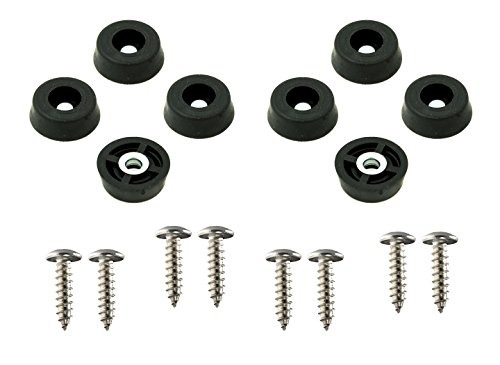 Round Rubber Feet - 8 Small Round Rubber Feet Bumpers W/Screws - .250 H X .671 D - Made in USA