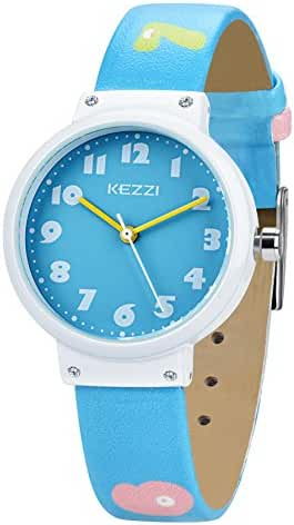 Dovoda Watch for Girls Boys Easy Reading Times Teacher Blue Leather Kids Watches