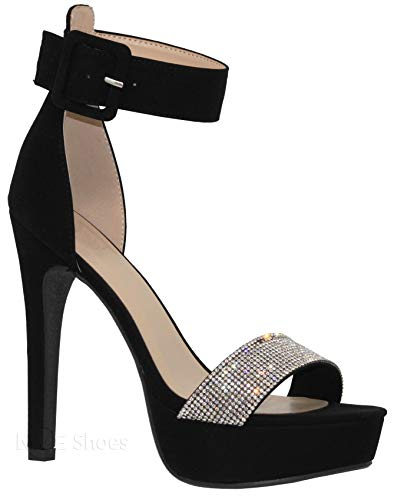 MVE Shoes Women's Open Toe Buckle Ankle Strap Platform High Heel Sandal, Black Nb Size 7.5 ()