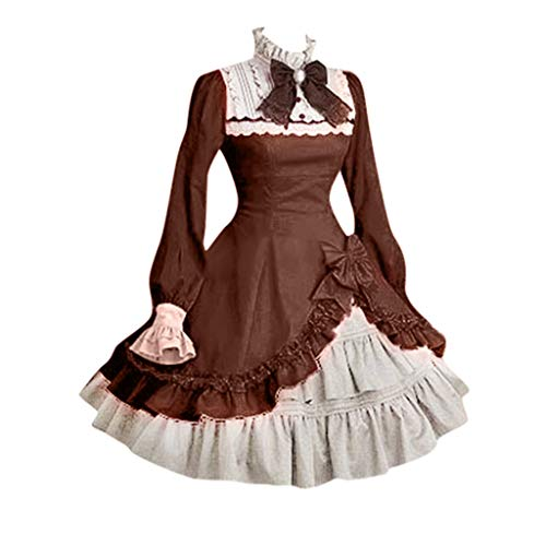 (Kulywon Lolita Cute Women Lace Long Sleeve Bowtie Cosplay Costumes Party Dress with Bow Brown)