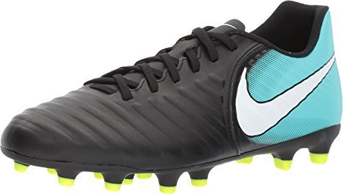 NIKE Women's Tiempo Rio IV (FG) Firm-Ground Football Soccer Shoe (10 B(M) US, Black/White/Light Aqua/Volt) by NIKE