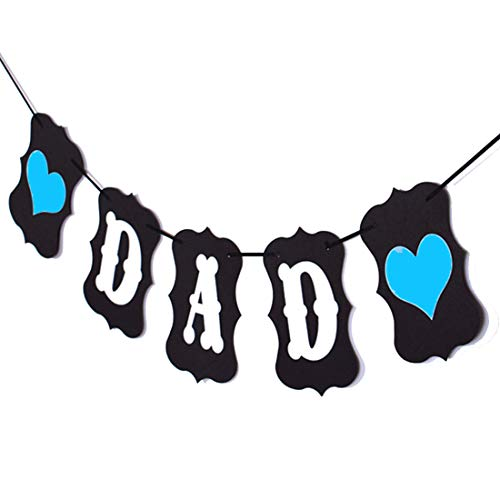 Black DAD Bunting Banner with Love Heart for Fathers Day Dad Birthday Party ()