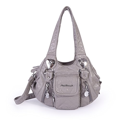 Angel Barcelo HandBags Soft Lether Mini Size (Grey) by Angel Barcelo