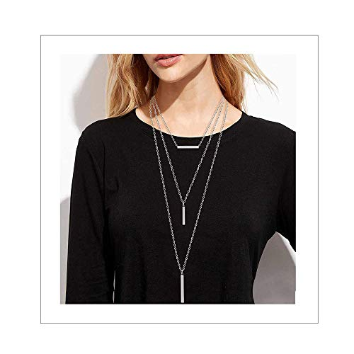 CEALXHENY 3PC Layered Bar Pendant Necklaces Boho Stick Bar Choker Necklace Minimalist Y Necklaces for Women Girls (A Silver) ()