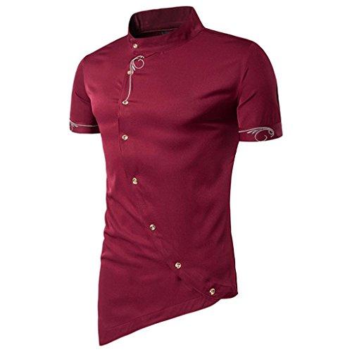 Men Tees, Fashion Casual Oblique Button Mandarin Collar Short Sleeve Tuxedo Slim Shirt for Mens (XXL, Wine Red)