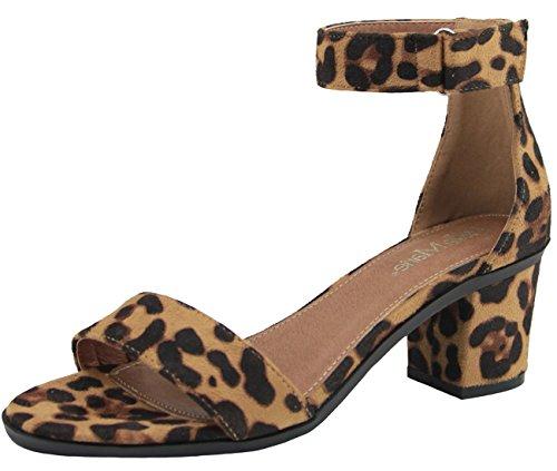 Chunky Leopard (Bella Marie - Women's Velcro Low Chunky Heel - Black,7.5 B(M) US,Leopard)