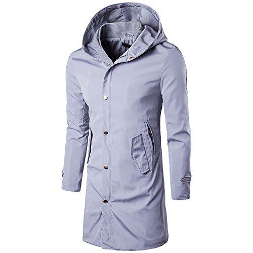 Grey Grey Grey tuta cappuccio cappuccio cappuccio QIN vento della Uomo Coat Top con Giacca Casual sportiva a giacca amp;X Autunno qOZwHrAO