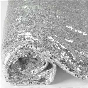 1 Yard Embroidery Mesh Sequin Fabric Shiny Silver Sequin Glamorous
