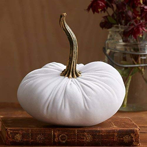 (Velvet Pumpkin White, Handmade Home Decor, Wedding, Holiday Mantle Decor, Centerpiece, Fall, Halloween, Thanksgiving)