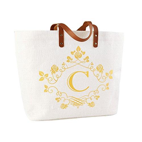 ElegantPark C-Initial Monogram 100% Jute Tote Bag with Handle and Interior Pocket