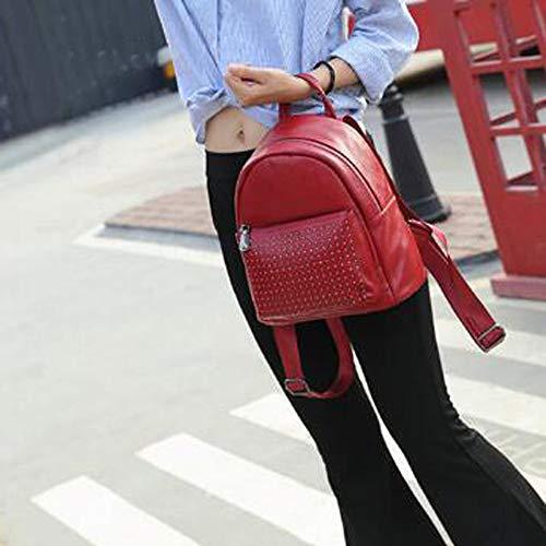 Femmes Voyage Red Daypack Mode Simple Dos Sac Décoration ZHXUANXUAN Rivet à Design Casual 4vRa4dx