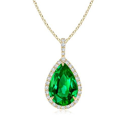 Modified Emerald - GIA Certified Emerald Teardrop Pendant with Diamond Halo in 18K Yellow Gold (13.79x9.89x7.24mm Emerald)