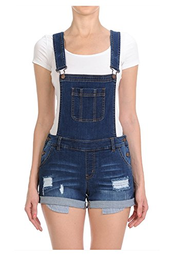 TwiinSisters Women's Destroyed Slim Curvy Pants Stretch Short Overalls Size S - 3X (Large, Medium Blue #90078)