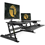 Standing Desk Converter with Height Adjustable – FEZIBO 36' Sit to Stand up Desk Riser Black Computer Workstation Dual Monitor Tabletop Lifter