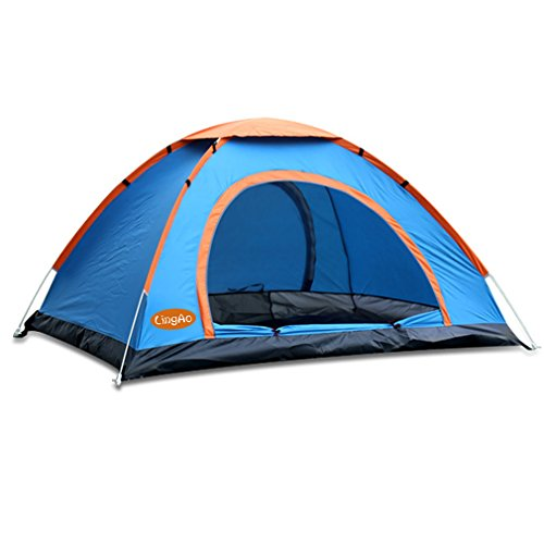 LingAo Beach Shelter with UV Guard,Automatic Pop Up Tent for Camping/Hiking/Fishing/Garden/Outdoors Sport,3-4 Person Tent (Blue)