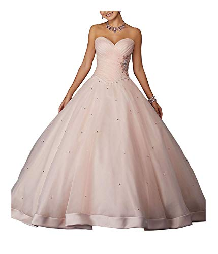 ZLQQ Women's Beaded Ball Gown Lace Applique Sweet 16 Detachable Quinceanera Dress_Blush Pink_18W