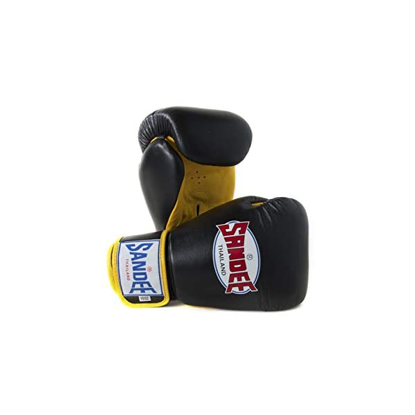 Sandee-Boxing-Gloves-Authentic-Leather-Black-Yellow-Muay-Thai-Kickboxing-MMA