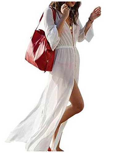 SHFZ Womens Summer Split Maxi Dress Beach Bikini Cover-up Swimsuit