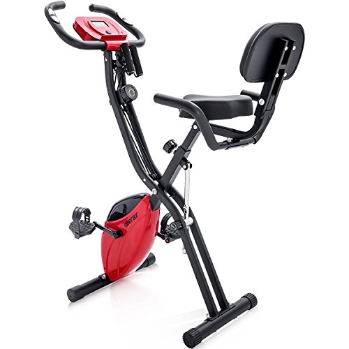 Merax Folding 3 in 1 Adjustable Exercise Bike Convertible Magnetic Upright Recumbent Bike, with Arm Resistance Bands (Red)