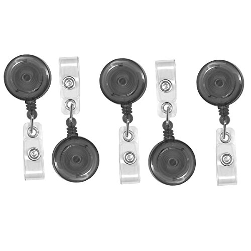 (Retractable Badge Clips,Dealzip Inc Translucent Black Retractable Name Tag Holders Badge Reel Clip On ID Card with Belt Clip-20pcs)