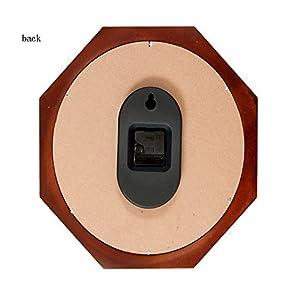 Wall clock Reloj Estilo Moderno y Sencillo Dormitorio Cocina Sala de Estar Oficina Esfera de Metal Espejo de Cristal Marco de Madera Movimiento de escaneo 2 Pilas AA 6