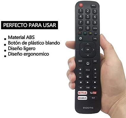 FOXRMT Reemplazo Hisense EN2X27HS Mando a Distancia para Hisense LCD LED TV/Smart TV con Netflix Youtube wuaki TXT: Amazon.es: Electrónica