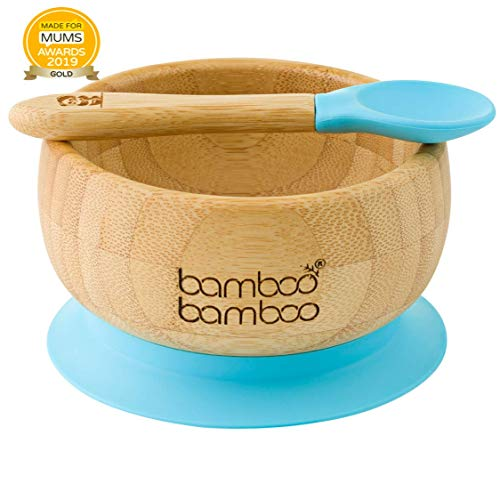 Easy Feed Baby Suction Bowl and Spoon Set, Stay Put Feeding Bowl, Natural Bamboo (Blue)