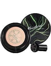 Base de cabeça de cogumelo, Air Cushion CC Cream BB Cream, corretivo hidratante, base de maquiagem brilhante de longa duração com esponja de maquiagem de cogumelo, fácil de aplicar, redonda