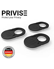 Privise Webcam Cover | The Original Sliding Webcam Cover | Computer Security Products | Phone, Tablet & Laptop Camera Cover | Black or White | 3 Pack