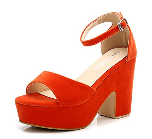 d Color Open Toe Ankle Strap High Heels Wedge Sandals Block Heel Plarform Shoes Orange Velveteen US7 EUR37 ()