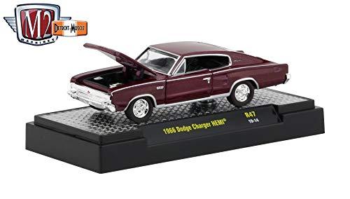 M2 Machines 1966 Dodge Charger HEMI (Maroon Metallic) - Detroit Muscle Release 47 Castline 2019 Premium Edition 1:64 Scale Die-Cast Vehicle & Custom Display Base (R47 19-14)